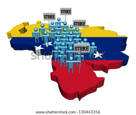 workers on strike on Venezuela map flag illustration - stock photo