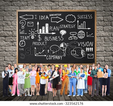 Workers People group near colorful infographic background. - stock photo