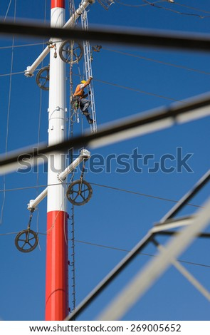 Workers repairing a high voltage industrial power energy line. Great for energy, safety and technology themes. : Almada, Portugal - October 02, 2008  - stock photo