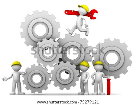 Workers team adjusting gear mechanism. Isolated - stock photo