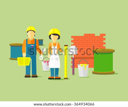 Workers team people group flat style. Work and construction worker, group of workers, employees and teamwork, person professional engineer illustration - stock photo