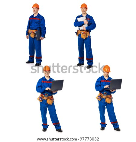 Workers with notebook against white background, collage - stock photo