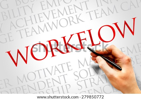 WORKFLOW word cloud, business concept - stock photo