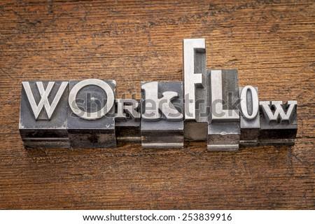 workflow word in mixed vintage metal type printing blocks over grunge wood - stock photo
