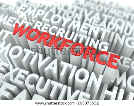 Workforce - Word in Red Color Surrounded by a Cloud of Words Gray. Wordcloud Concept. - stock photo