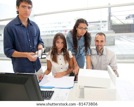Workgroup in training course - stock photo