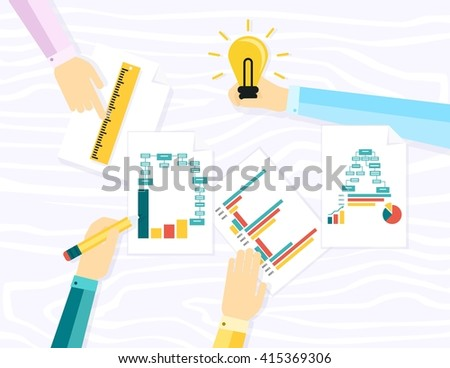 Working as a team to create the idea of the concept, the implementation process, the development of business.  style of modern apartment - stock photo