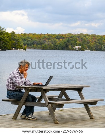 Working at a lake