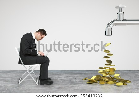 Working businessman with laptop and faucet from which the money flow - stock photo