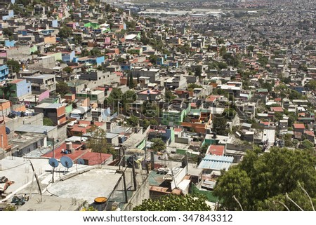 Working Class Favela on outskirts of Mexico City - stock photo