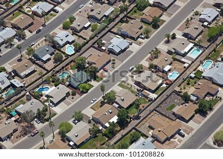 Working class neighborhood in Southwestern United States - stock photo