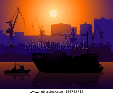 Working cranes and tug in sea port. Raster version  - stock photo