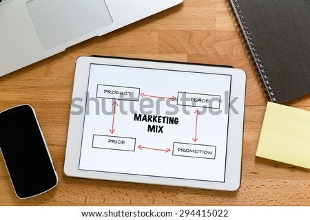 Working desk with digital tablet showing marketing mix concept - stock photo