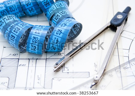 Working engineer's office - stock photo