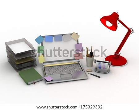 working environment is isolated on a white background - stock photo