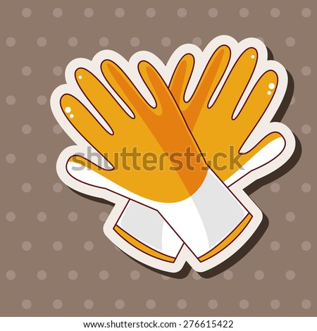 Working gloves , cartoon sticker icon