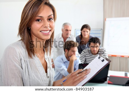 Working group at the office - stock photo