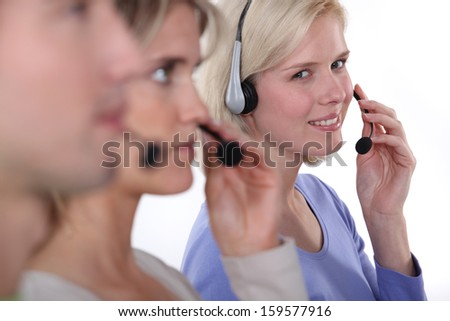 Working in a cell centre - stock photo