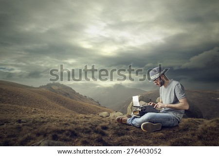 Working in a desert - stock photo