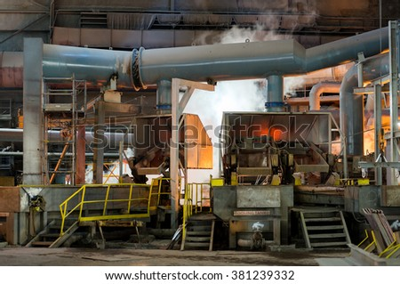 Working in production shop with casting equipment in a smelter hall , foundry factory AURUBIS, Pirdop, Bulgaria, November 05, 2015 - stock photo
