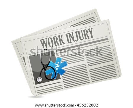 Working injury newsletter sign concept graphic illustration design - stock photo