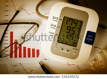 Working late at office. Digital blood pressure monitor, glasses, pen and pills on financial reports.