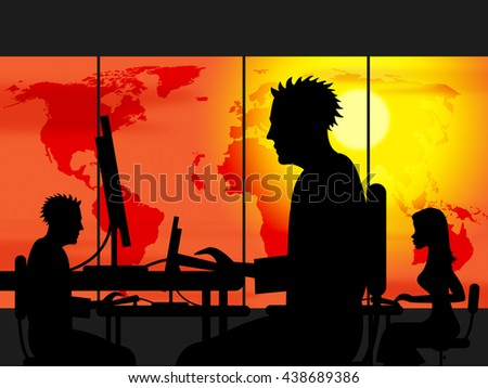 Working Late Representing Evening Worked And Nighttime - stock photo