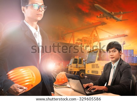 working man in container dock ,ship yard use for shipping business and  transportation industry  - stock photo