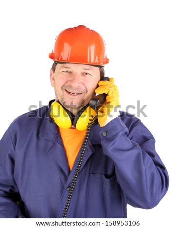 Working man talking on phone. Isolated on a white backgropund.