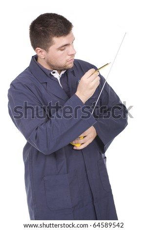 working man  with a tape-measure and pencil - stock photo