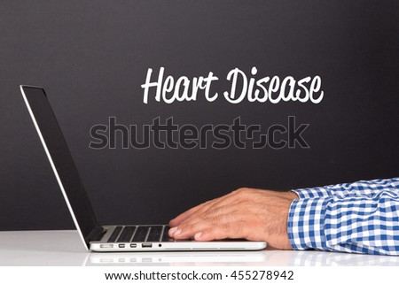 WORKING OFFICE COMMUNICATION PEOPLE USING COMPUTER HEART DISEASE CONCEPT - stock photo