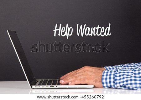 WORKING OFFICE COMMUNICATION PEOPLE USING COMPUTER HELP WANTED CONCEPT - stock photo