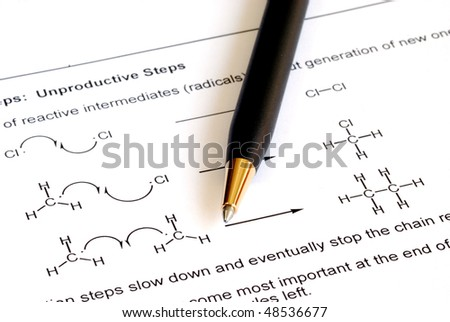 Working on the college level Organic Chemistry - stock photo
