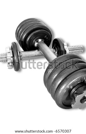 Working out with sports weights - stock photo