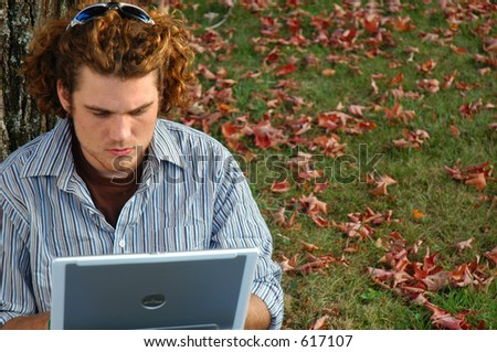 working outside - stock photo