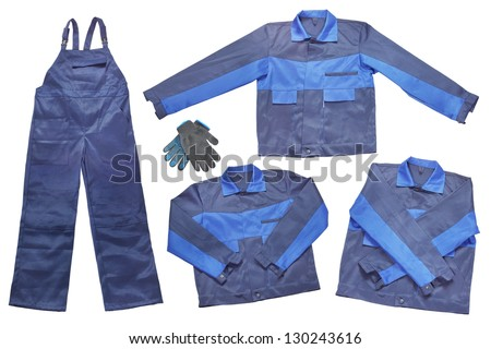 Working Overalls Isolated On White Background - stock photo