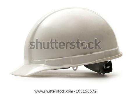 Working safety helmet on white - stock photo