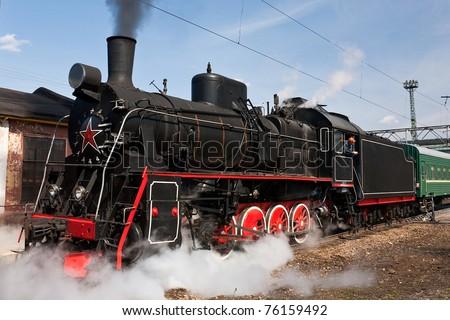 working steam locomotive - stock photo
