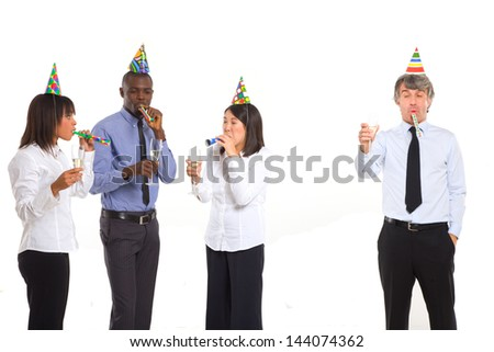 working team celebrating - stock photo
