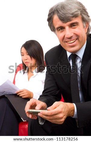 working team during a meeting - stock photo