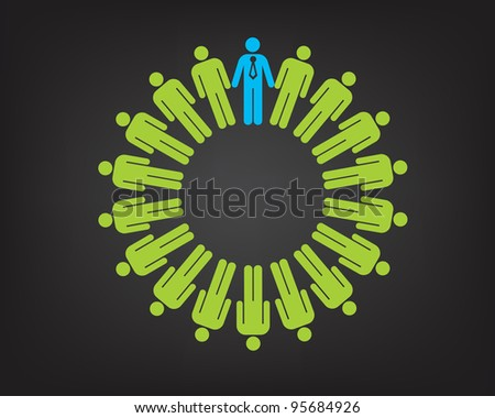 Working together team concept. Men and boss with tie icon. Happy illustration version. - stock photo