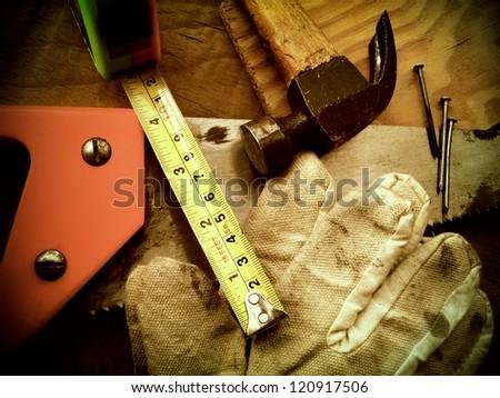 Working tools background sepia image. - stock photo