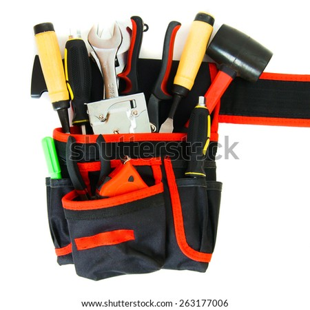 Working tools in carrying case . Many working tools in the carrying case on white background.  - stock photo