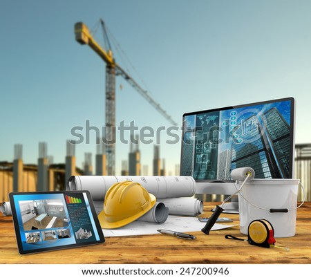 working tools of the builder in a construction site - stock photo