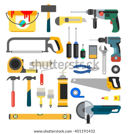 Working tools set. Tools for repair and construction. Hand drill, saw, level, hammer, screwdriver and other construction tools. Home repair flat icons. - stock photo