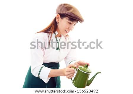 Working waitress - stock photo