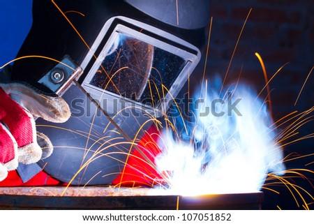 Working welder - stock photo