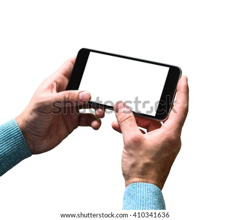 Working with a smart phone, isolated on white. Clipping path included. - stock photo