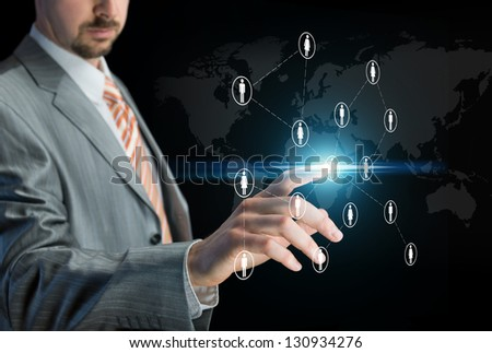 Working with touch screen - stock photo