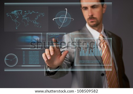 Working with touchscreen - stock photo
